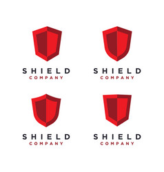 red shied logo set template vector image