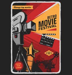 Retro movie festival poster with video camera vector