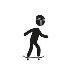 riding skateboard stick figure vector image