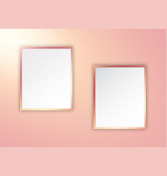 rose gold picture frames on spotlit wall vector image
