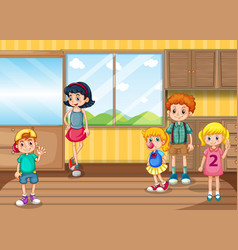 Scene with many kids in room vector