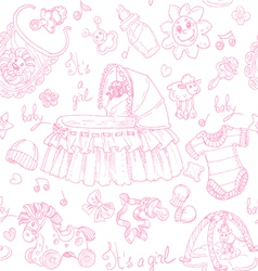 Seamless background is a girl with toys doodles vector image