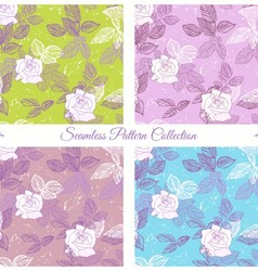 Seamless pattern set with roses vector image vector image