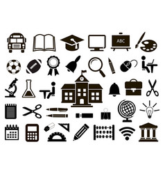 set of school icons on white background vector image
