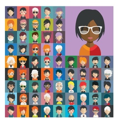 set people icons in flat style with faces 21 a vector image