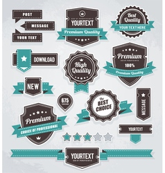 set retro labels buttons and icons vector image