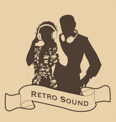 silhouette of dj couple retro style with vector image
