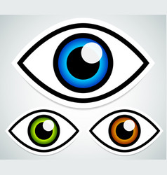 simple eye stickers with highlight and shadow vector image