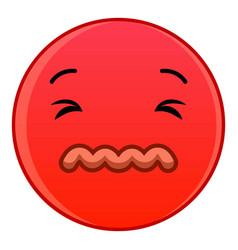 Skeptical red emoticon icon cartoon style vector