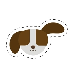 small puppy dog pet line dotted vector image