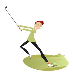 Smiling golfer playing golf vector