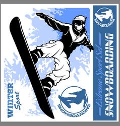 snowboarding emblem man on dark vector image