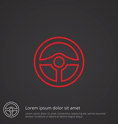 Steering wheel outline symbol red on dark vector