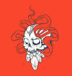 strange skull print vector image