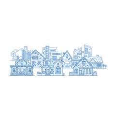 suburban landscape with various city buildings vector image