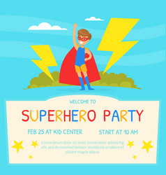 superhero party invitation card template happy vector image