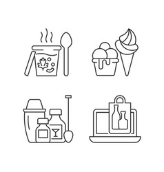 Takeaway and delivery option linear icons set vector