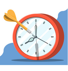 Target with dart arrow and clock vector
