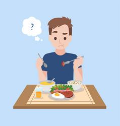 Tasteless a upset man eating food vector