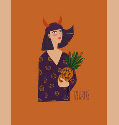 Taurus zodiac sign with girl vector