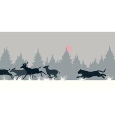 Tiger chasing deer vector image vector image