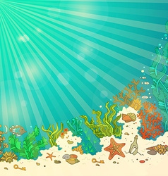 Tropical underwater ocean background vector