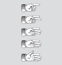 vintage hands line art vector image