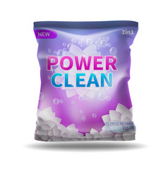 washing powder and detergent bag package vector image