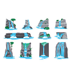 waterfall horizontal set vector image