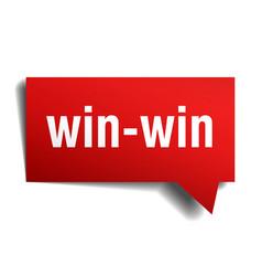 win-win red 3d realistic paper speech bubble vector image