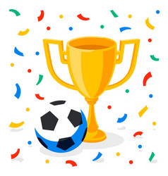winner gold cup football ball and confetti on vector image