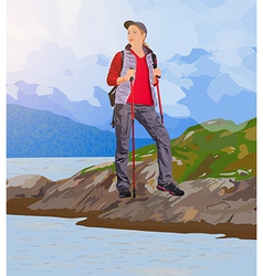 Young woman tourist vector