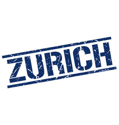 Zurich blue square stamp vector