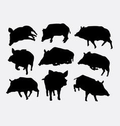 boar mammal wild animal silhouette vector image