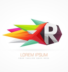 colorful abstract logo with letter R vector image