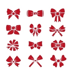 Different bows red icons set vector image vector image