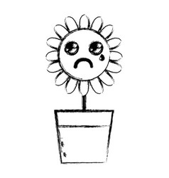 Figure kawaii beauty and crying flower plant vector