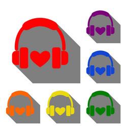 headphones with heart set of red orange yellow vector image vector image