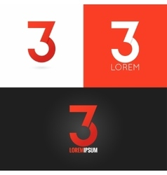 number three 3 logo design icon set background vector image