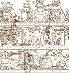 Seamless shelves with witch paraphernalia vector