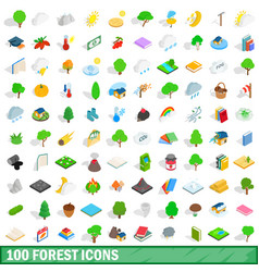 100 forest icons set isometric 3d style vector image vector image