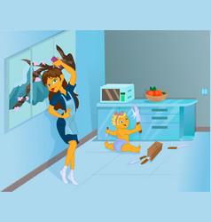 awful nanny having fun at work vector image