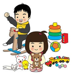boy and girl play toy vector image