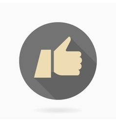 Fine Flat Icon With Thumb Up vector image