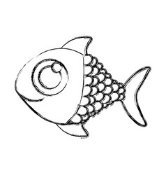 monochrome sketch of fish with big eye vector image