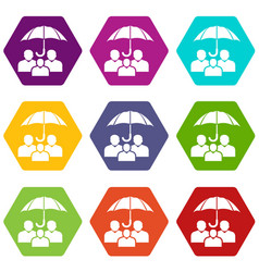 people protection icons set 9 vector image