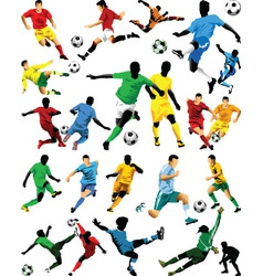 Soccer Players Sihouettes vector image