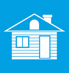 wooden log house icon white vector image