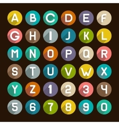 Flat Style Alphabet Icons Set Numbers and Letters vector image vector image