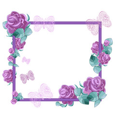 lilac roses with leaves and openwork butterfly vector image vector image